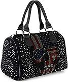 styleBREAKER Damen Bowling Bag mit Strassnieten und USA Totenkopf Strass Applikation,...