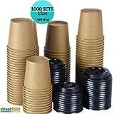 Einweg-Kaffeetasse mit schwarzem Deckel, 340 ml, kompostierbar, biologisch, ungebleicht,...