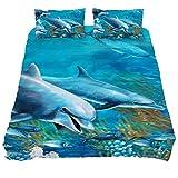 Eslifey Wale Unterwasser-Bettwäsche-Set für Schlafzimmer, 150 x 200 cm, 3-teilig, Chemisches...