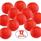 CXWK 12 PC/Set Rote chinesische Papierlaterne Papierlaterne-Hochzeitsfest-Laternen Boule Indoor...
