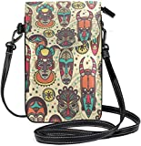 Women Mini Crossbody Shoulder Bag Tribal African Ma-sks Leather Cellphone Purse Neck Pouch