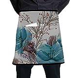 LIANGWE Mens Kitchen Apron Christmas Seamless Amaryllis Watercolor Waitress Apron Short with Large...