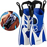 Khroom Kurzflossen verstellbar mit Flossentasche zum umhängen und weichem Fersen-Pad (Blau, 34-39)