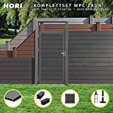 HORI WPC-Zaun I Sichtschutz-Zaun, Steckzaun, Gartenzaun Komplettset I beidseitig glatt I 2x Niedrig...