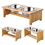 Foreyy erhöhte Hundeschüsseln für Katzen und Hunde, 2 Schüsseln aus Edelstahl, mit Bambus-Halter...