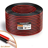 MANAX Lautsprecherkabel 2 x 1,5mm rot/schwarz 50,0 m Ring