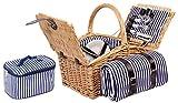 4 Personen Weiden Picknickkorb Picknickkoffer Set mit Decke, Besteck, Wein Glser, Teller (Braun)