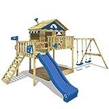 WICKEY Spielturm Smart Coast Kletterturm Spielhaus auf Podest mit Doppelschaukel und Rutsche,...