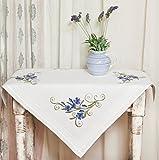 Kamaca Stickpackung Blue Blossom Stickdecke 80 cm x 80 cm Spannstich vorgezeichnet aus 100%...