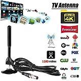 Createjia 4K Digital HDTV Antenne Verstärkte Innenantenne mit Einer Reichweite von 1180 Meilen und...