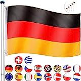 FLAGMASTER Aluminium Fahnenmast 6,5m + Flagge, 5fach hhenverstellbar, 3 Jahre Garantie, 18...