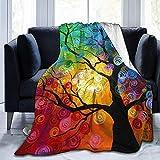 wobuzhidaoshamingzi Bunter Baum Ultra-Soft Fleece Decke Flanell Velvet Plush Throw Blanket