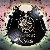 Tattoo Studio Vinyl Schallplatte Wand Clockwood Tisch Lampe Nachttisch Lampe Batterie Tischlampe