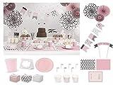 Party-Geschirr Set Happy Birthday rosa grau Pastel 48 teilig 6 Personen Party Deko Set Partydeko...