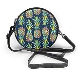 Generic Bunte Muster mit Ananas, runde Umhängetasche, Umhängetasche, PU-Leder mit Reißverschluss,...
