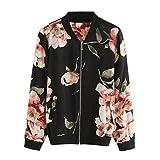 Damen Blazer Strickjacke Sweatshirt mit Reissverschluss Streetwear Frühling Blouson MYMYG Floral...