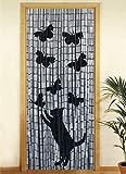 WENKO Bambusvorhang Katze und Schmetterling, Trvorhang, Bambus, 90 x 200 cm, mehrfarbig