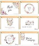The Boho Life Dankeskarten 'Wild Flower' | Florales Set bestehend aus 60 Karten, Umschläge und...