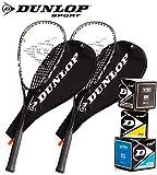 Dunlop Squashset: 2x Squashschlger BIOTEC LITE TI SILVER DELUXE + 2x Schlgerhlle + 3 hochwertige...