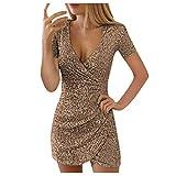 WERVOT Abendkleider Damen Frauen Langarm V-Ausschnitt Cocktailkleid Kurz Paillettenkleid Partykleid...