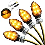 Justech 12V LED Smoked Microblinker Miniblinker Blinker Motorrad 4 Stück/E-Prüfzeichen