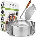 LAVUR Tortenring - Backform im 3er Set aus Tortenring, Kuchenretter und Kchenmesser - hochwertiges...