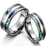 JewelryWe Schmuck 1 Paar Wolfram Wolframcarbid Poliert mit Abalone Muscheln Inlay Partnerringe...