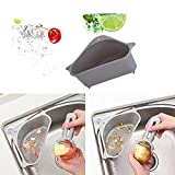 HWWGG Abflusskorb Für Spülbecken, Küchenablage, Abflusskorb Mit Saugnapf Für Waschbecken grau