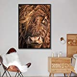 NLZNKZJ Minimalismus Hochland Kuh Wandkunst Abstrakte Leinwand Malerei Kuh Drucke Animal Bull Poster...