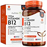Vitamin B12, 1000 μg, 365 Tabletten (12-Monats-Vorrat) - 365 hochdosierte Vegane...