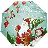 Frohe Weihnacht-Baum-Schneemann Santa Claus Auto Open Close Sun-Regen-Regenschirm
