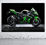 DPFRY Leinwandbilder Wandkunst Bild Kawasaki Ninja Motorrad Superbike Poster Drucken Leinwand...