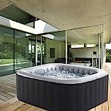 Whirlpool MSpa aufblasbar fr 4 Personen 158x158cm In-Outdoor Pool 108 Massagedsen Timer Heizung...