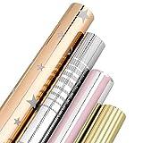 Geschenkpapier - MOOKLIN ROAM 4 Blatt Glänzend Weihnachtspapier Set mit 4 Verschiedene Designs für...