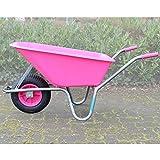 TRUTZHOLM Schubkarre rosa/pink PP 100 Liter | 250 kg Bau Karre Gartenschubkarre Bauschubkarre...