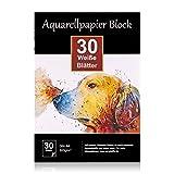 Aquarellpapier 300g DIN A4, 30 Blatt, Weißer Block geleimt, Aquarell-Block Malblock Papier für...