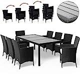 Deuba Poly Rattan Sitzgruppe Gartenmöbel WPC Gartentisch 8 Stapelbare Stühle Auflagen Sitzgarnitur...
