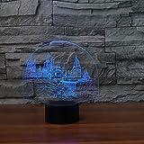 3D Led Touch Control Und Fernbedienung Visuelle Schloss Form Nachtlicht 16 Farben Tischlampe Usb...