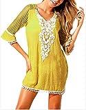 Hoverwin Strandkleid Damen Kleid Glatt Beach Cover Up Kurzarm Hemden und Pareo Size S-XXL Medium...