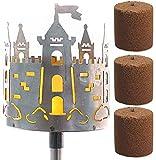 Novaliv Gartenfackel Burg Feuerschale Metall mit Stiel 3xBrennmittel Gartenleuchte Pellet Fackel