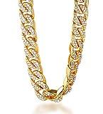 Halukakah  Bling  Herren Halskette Gold 18k Echt Vergoldet Diamanten Gesetzt Groß Miami Kubanische...
