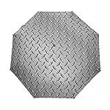 SUHETI Regenschirm TaschenschirmGraues Drahtzaun Design Netz Display Diamantplatteneffekte Chrom...