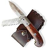 DELLINGER Damast Taschenmesser SAG mit Bügelsäge & Klappmesser & Damaststahl Messer & Outdoor...