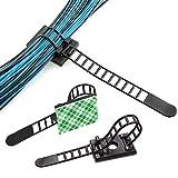 Dokpav 50 Stück Kabel Clips, Verstellbare Kabelhalter Set Management, Kabelbinder mit Klebstoff...