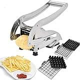 Pommesschneider,Französisch Braten Cutter mit 2 Klingen Edelstahl Kartoffel Hobel Cutter Chopper...