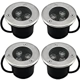 SAILUN 4 x 3W LED Bodeneinbaustrahler Edelstahl rund Bodenleuchte AC 230V IP68 270Lumen Für Aussen...
