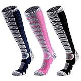 3 Paar Skisocken Skistrümpfe Rosa für Damen Größe Eu 36-41, Schwarz/Blau für Herren EU 39-43,...