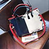 CHQKontrastfarbe Messenger Bag Damen Large-Capacity Fashion Schultertasche blau 32 * 13 * 28CM