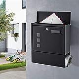 WOOHSE Design Briefkasten Schwarz mit Zeitungsfach, Namensschild, Sichtfenster, Edelstahl...