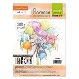 Vaessen Creative Florence Aquarellpapier A4 in Elfenbein Weiß, aus 200 g/m² Glattem Papier, 12...